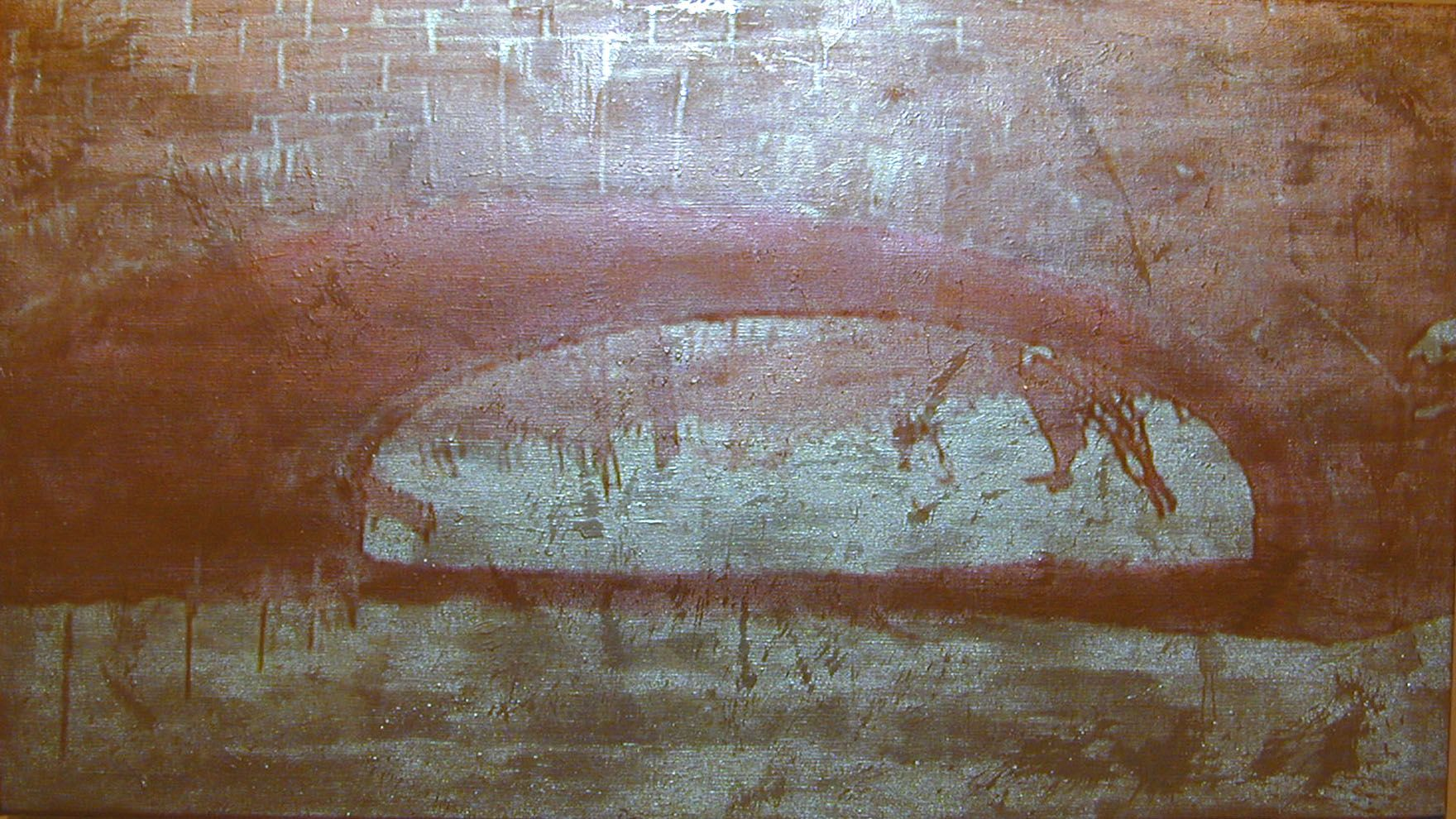Gold / Tunnel, 2003, Video projection, oil and enamel on linen