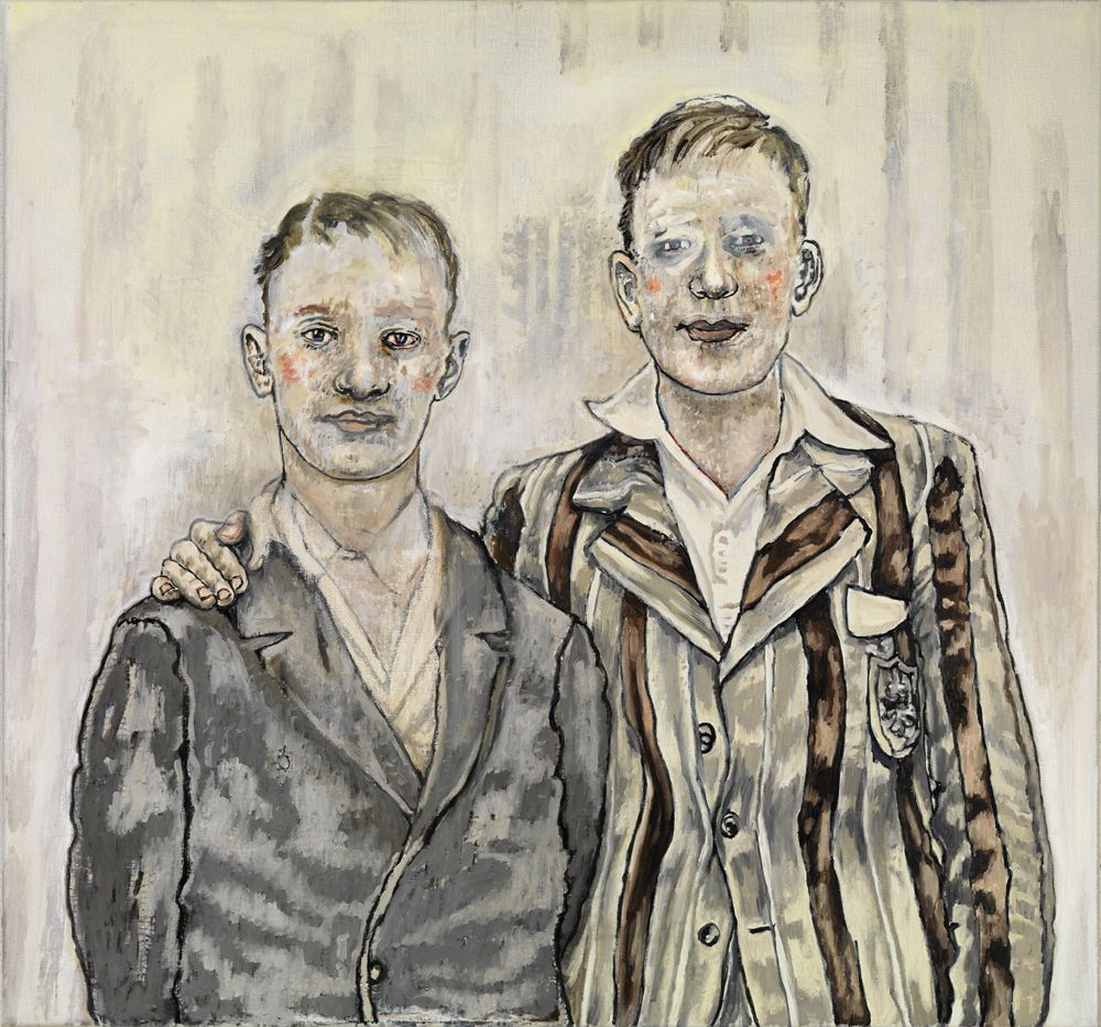 a painting of two boys in suits by Dutch female artist Hannah van Bart