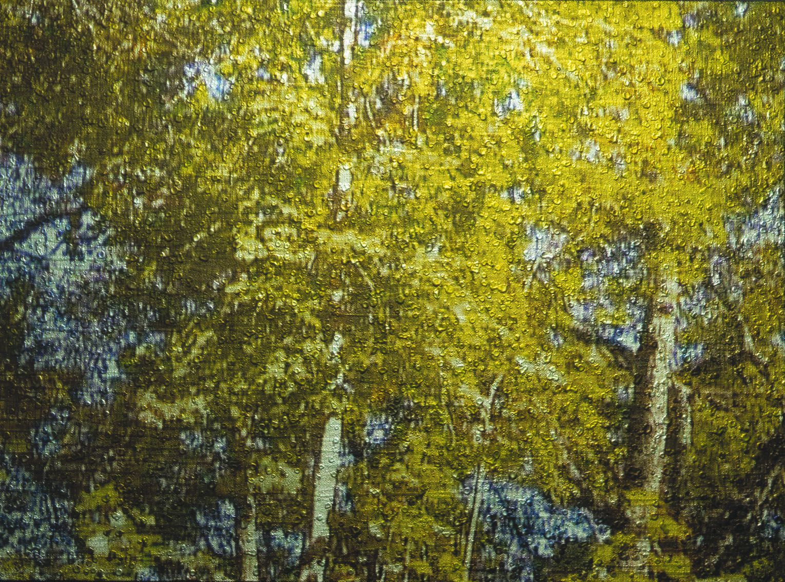 Gold / Landscape #9, 2003, Video projection, oil and enamel on linen