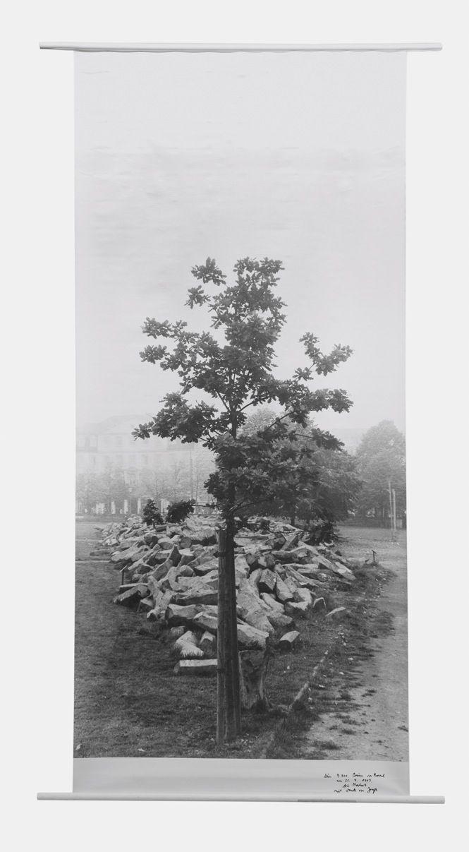 """Joseph Beuys, Flag: 7000 Eichen, 7000 Eichen """"Erste Eiche vor Basaltsteinen auf Friedrichsplatz"""", 1985"""