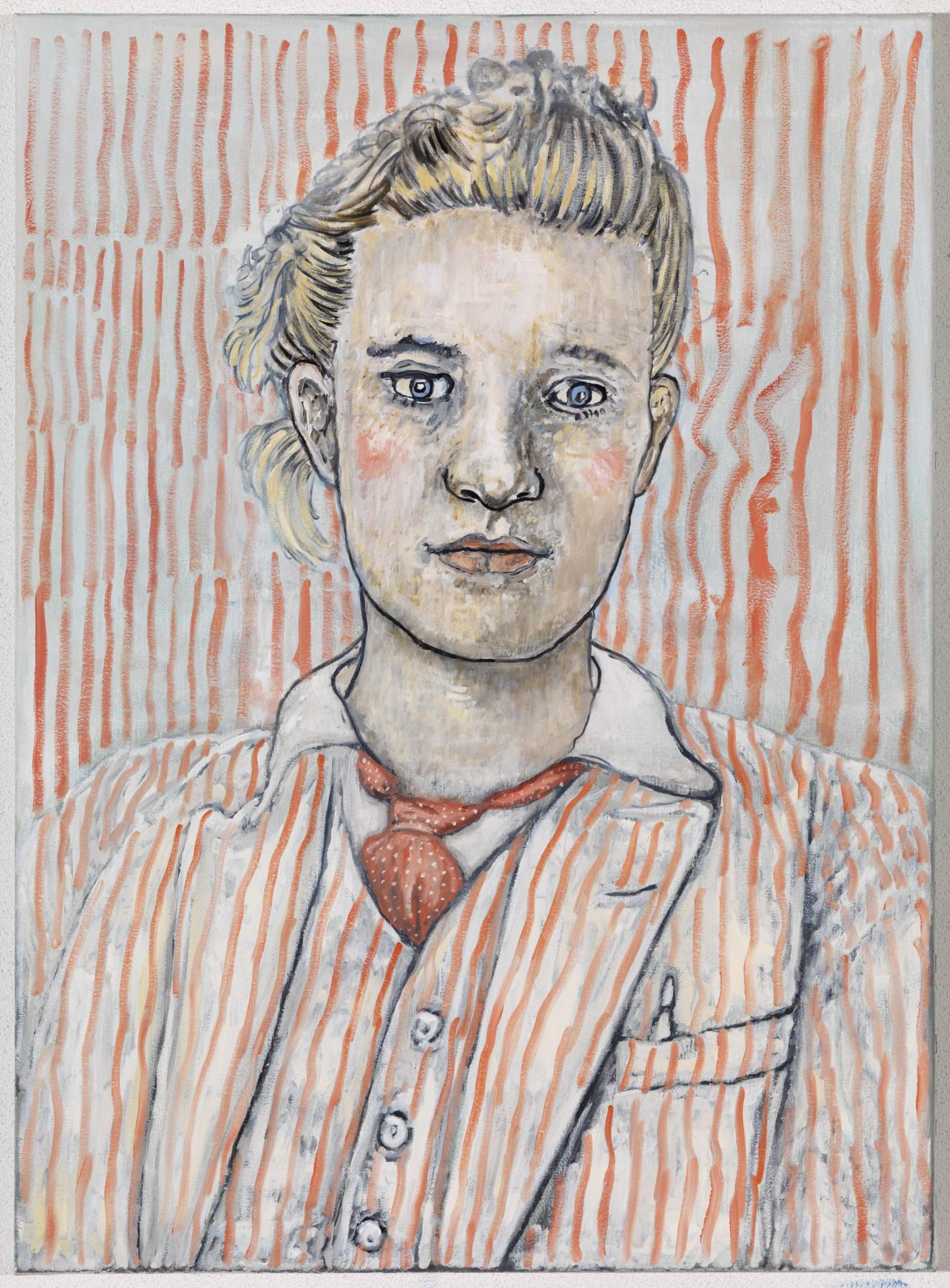 portrait of a woman in a pink striped suit by hannah van bart