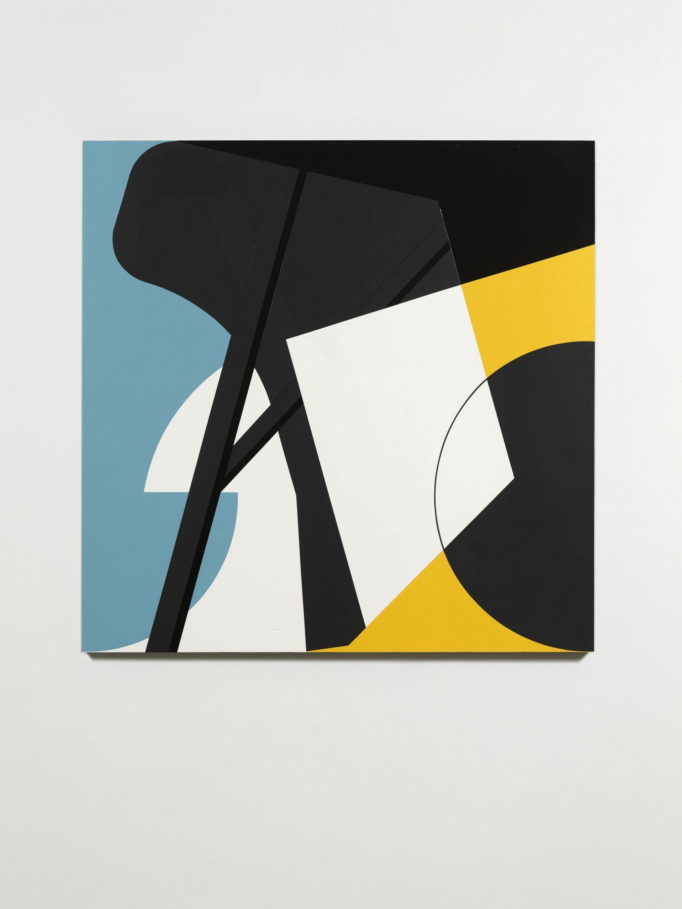 abstract, blue, yellow, white and black artwork by serge alain nitegeka