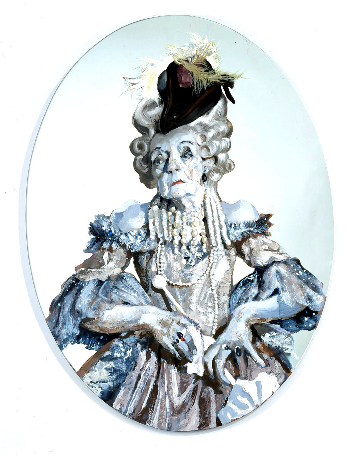 blue roundel with portrait of elderly woman
