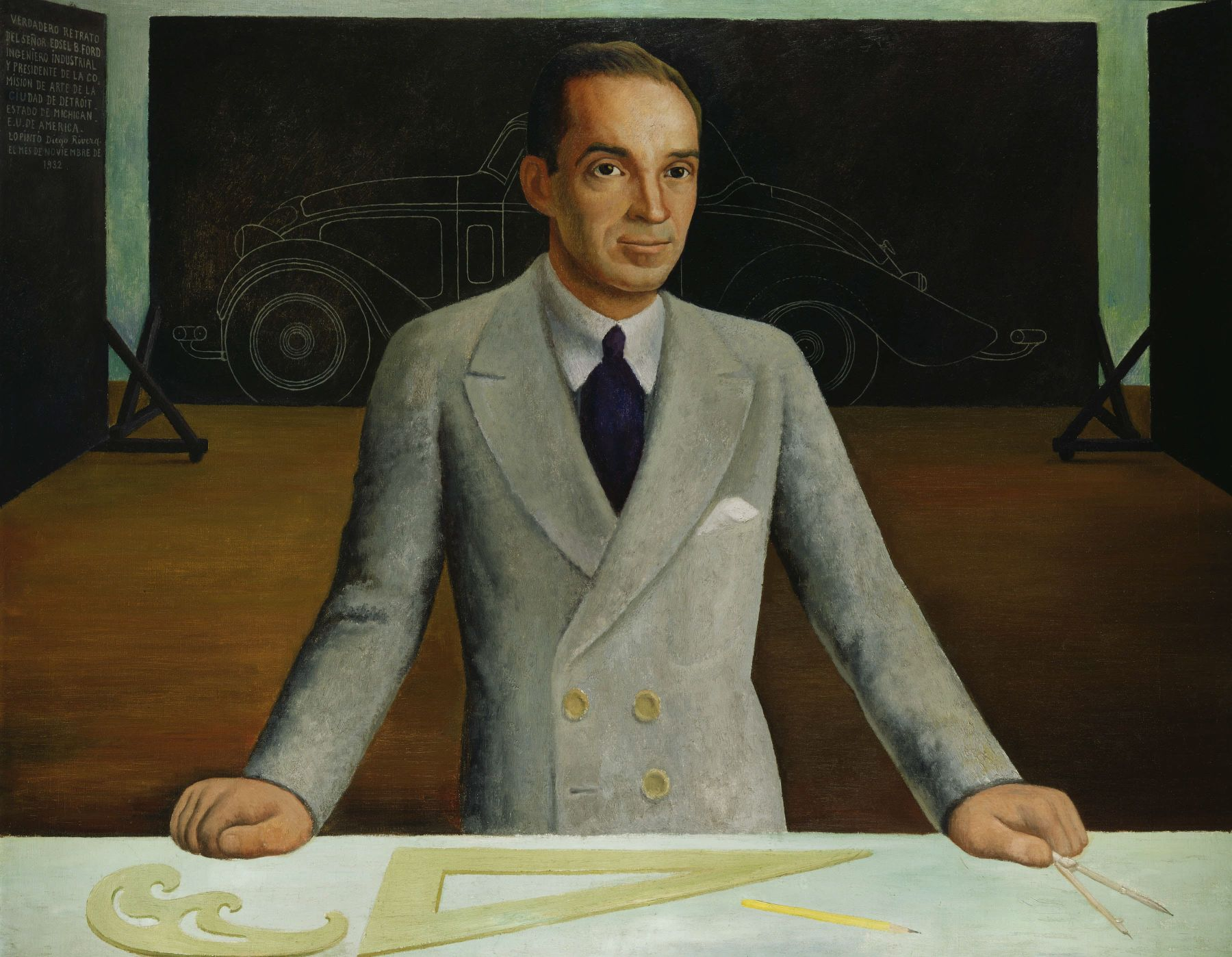 portrait of a man with a car model by diego rivera
