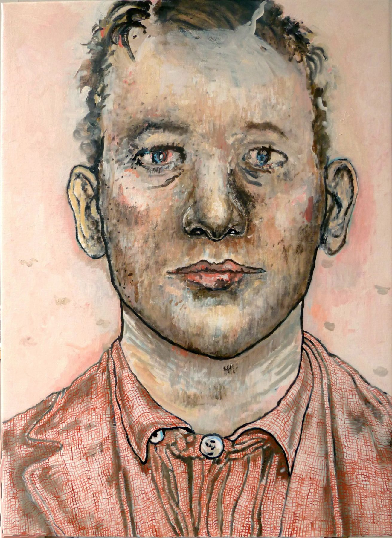 pink portrait of a man by hannah van bart