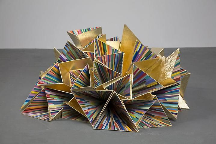 Inversion (Seventh Wonder) 2007-08, Wood, gold leaf, acrylic, and color aid paper strips