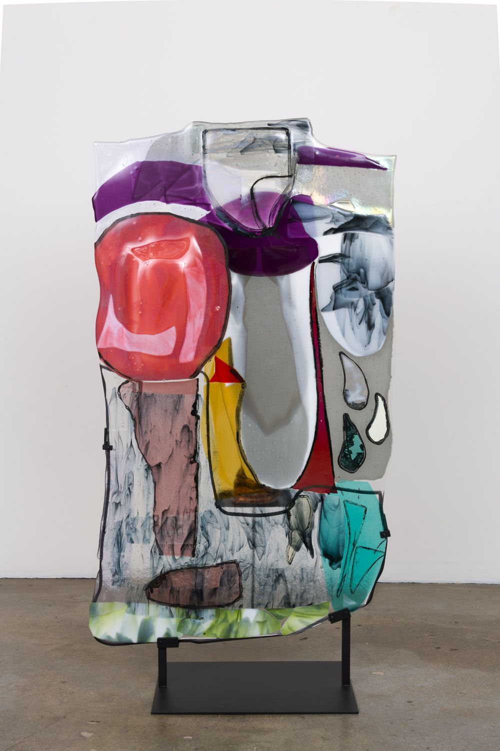 a glass, ceramic and steel sculpture by jessica jackson hutchins in a contemporary art gallery