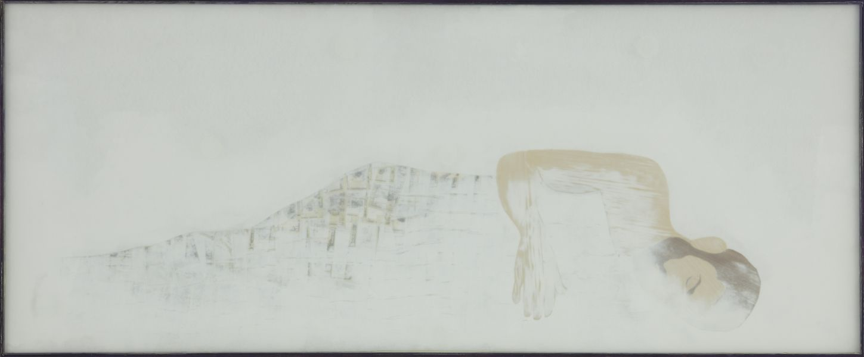 Liegende 1, 2009, MDF, veneer, paper collage, spraypaint, glass, wood