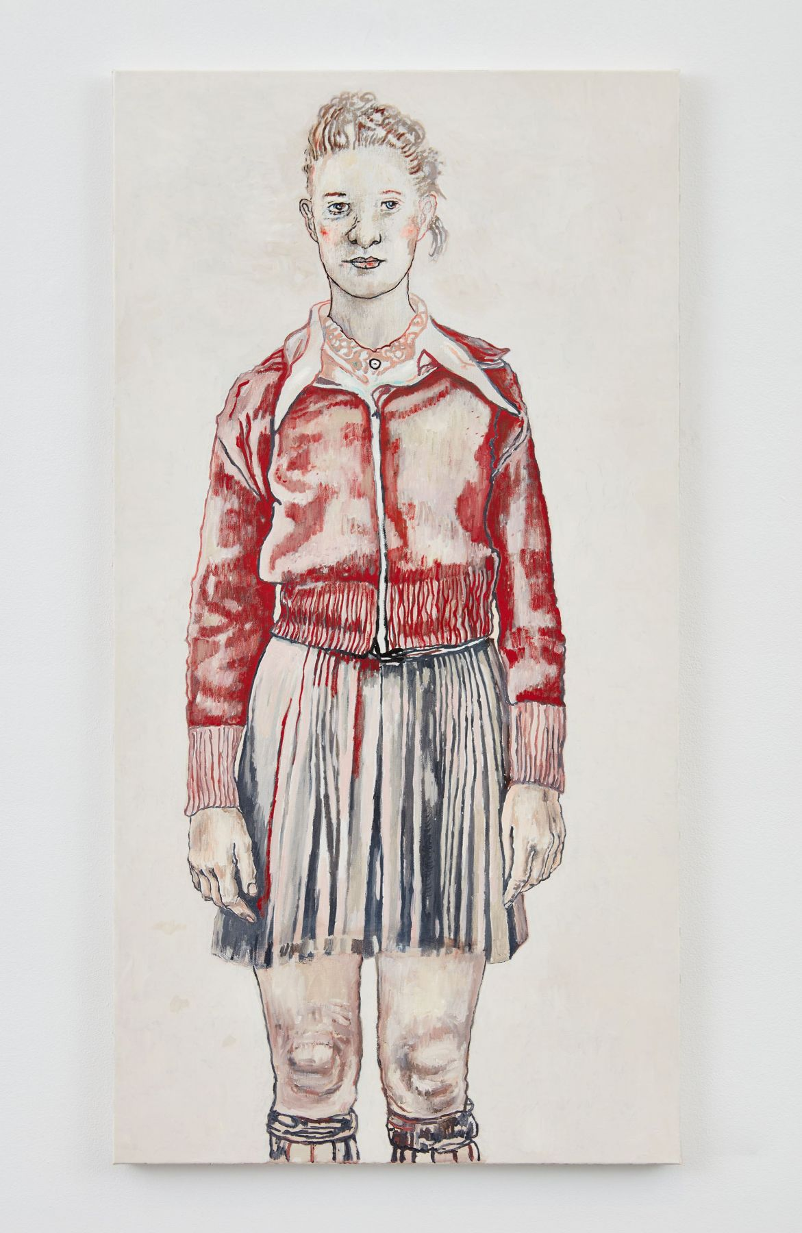 portrait of a woman in a red jacket and blue skirt by hannah van bart
