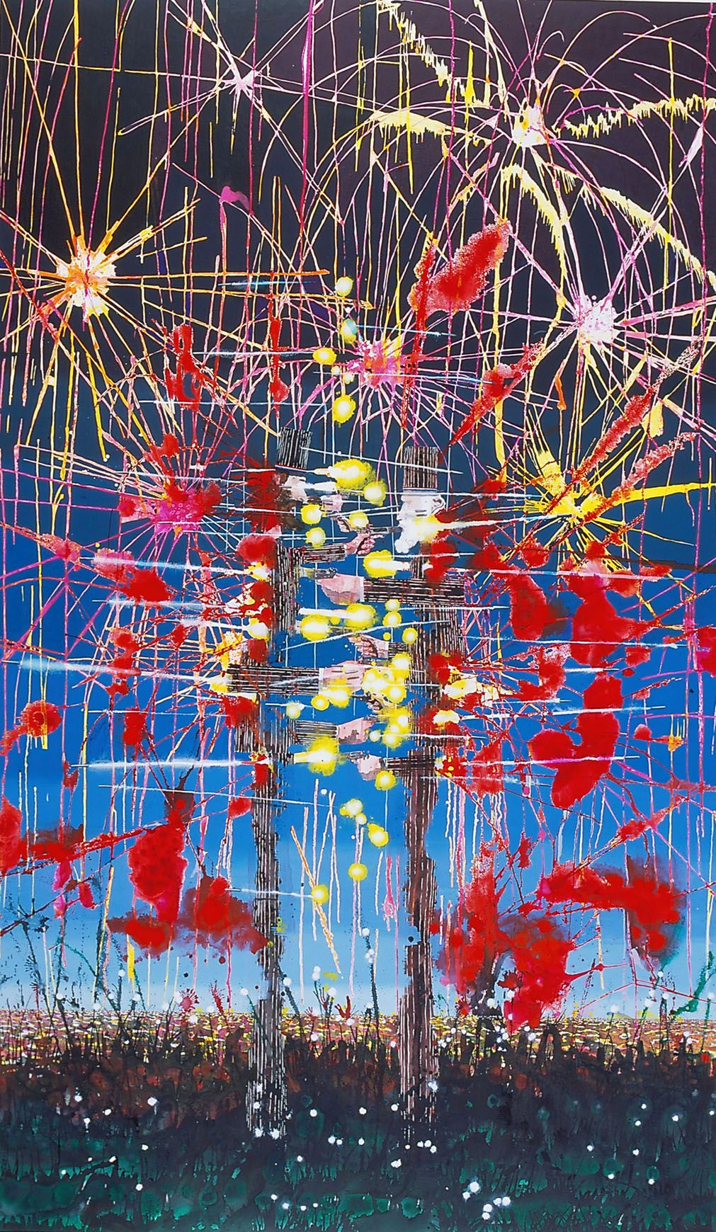 a mixed media artwork of fireworks by barnaby furnas