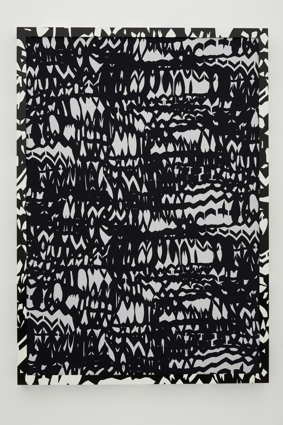 The Wilds, 2013-14, Acrylic and oil on canvas, foiled mesh, and printed spandex in painted wood frame