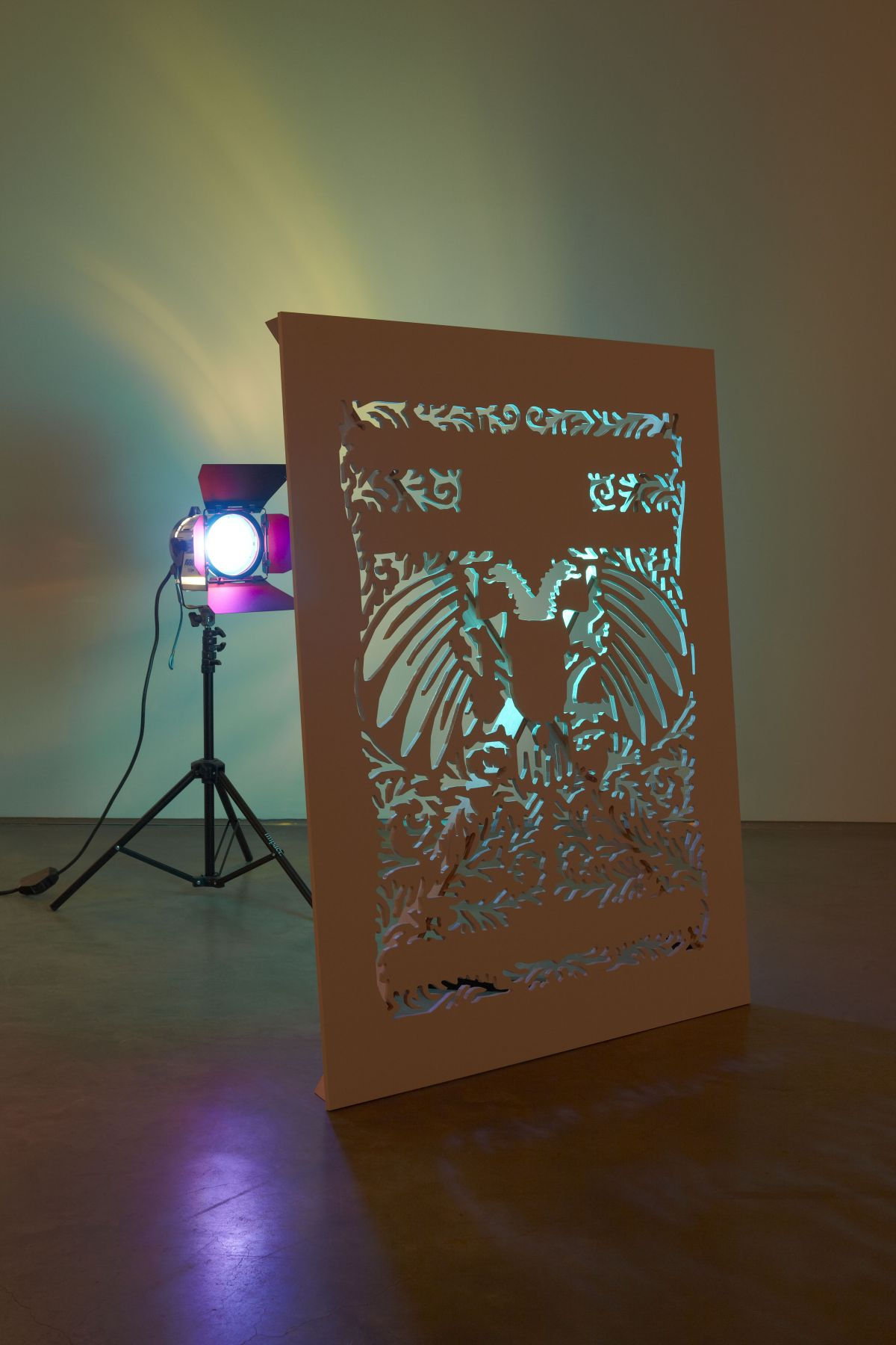 a light sculpture by artist sue de beer exhibited in a nyc art gallery