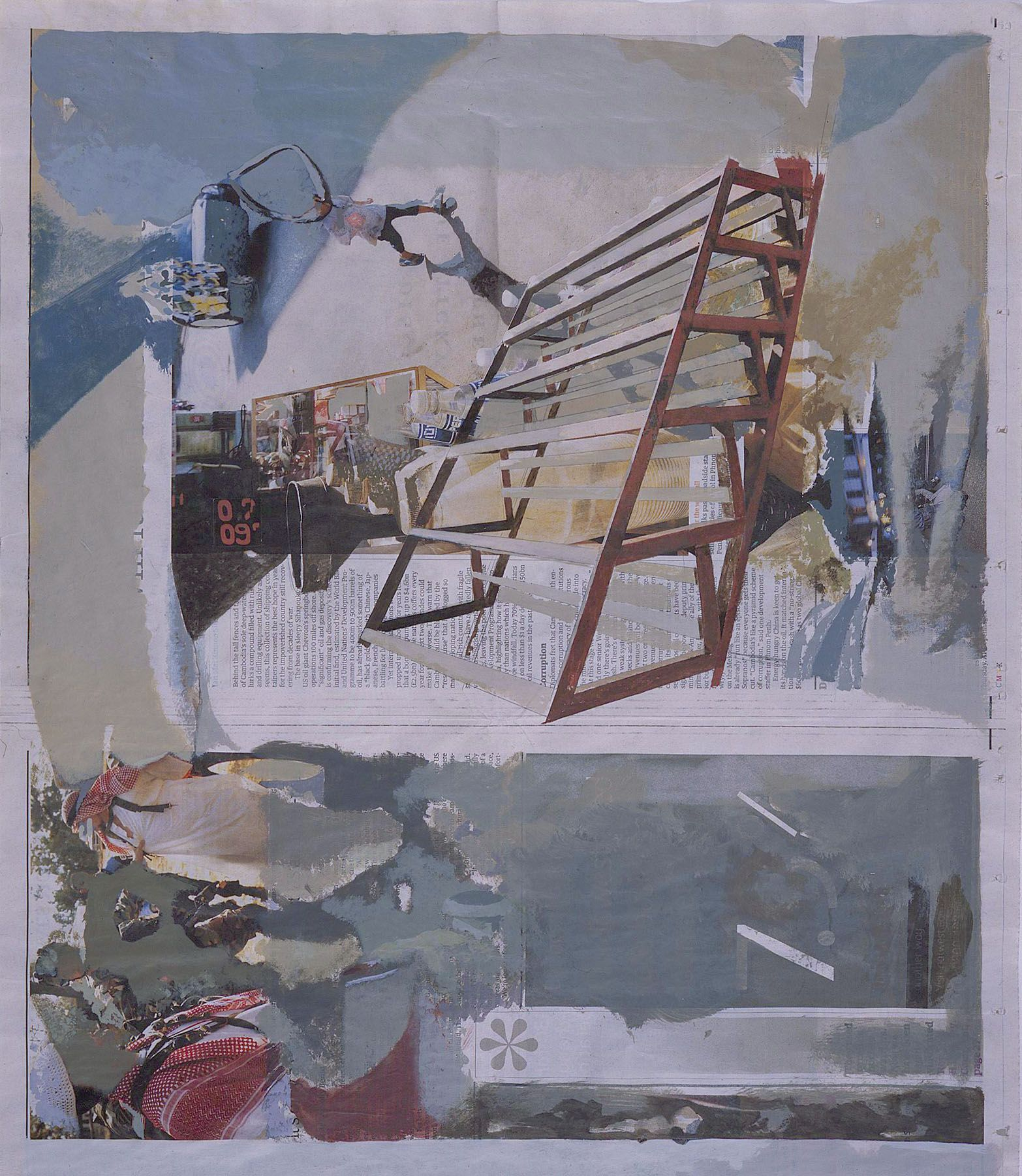 collage on newsprint by tony swain