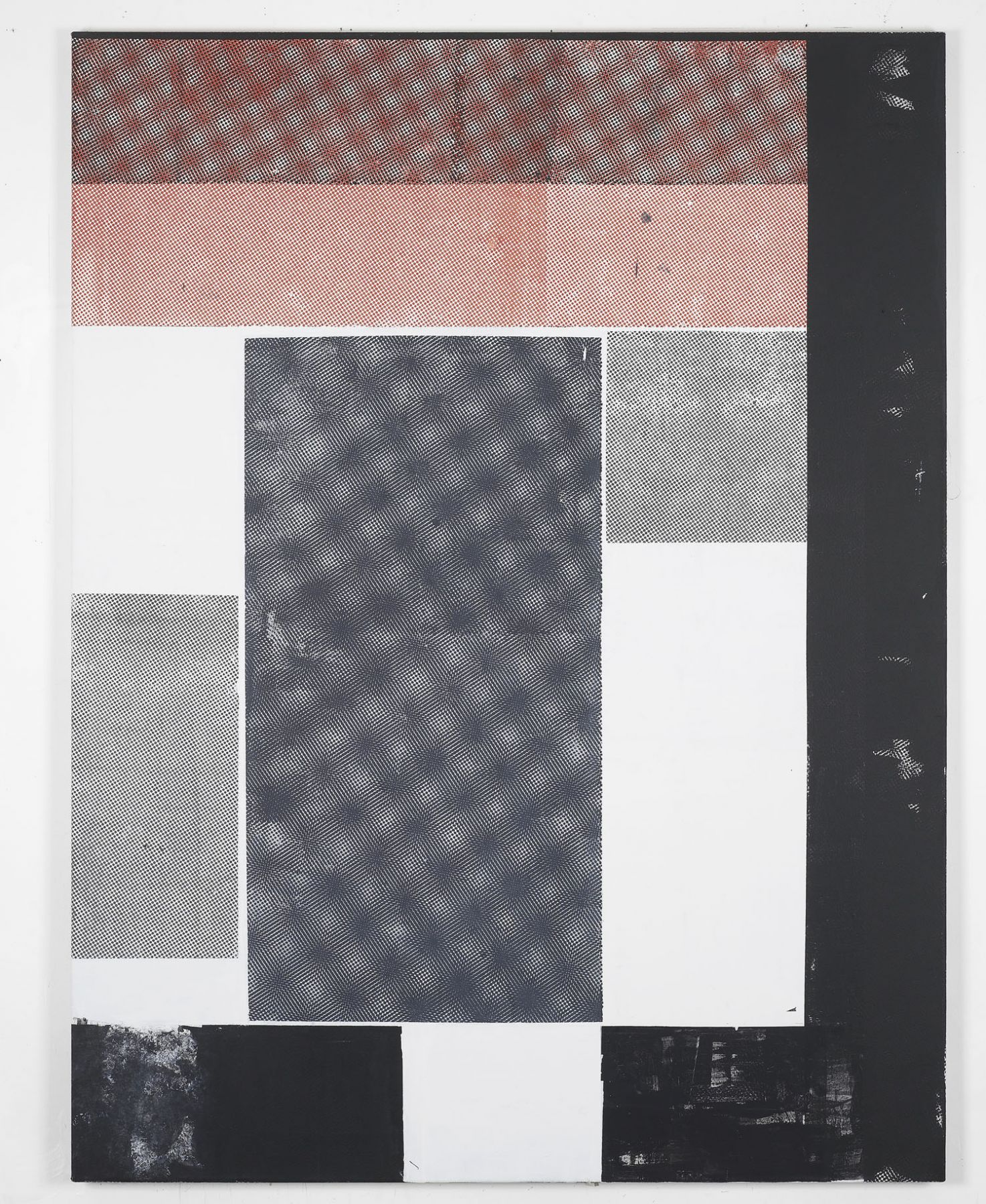 red, black, and white grid painting by melissa gordon