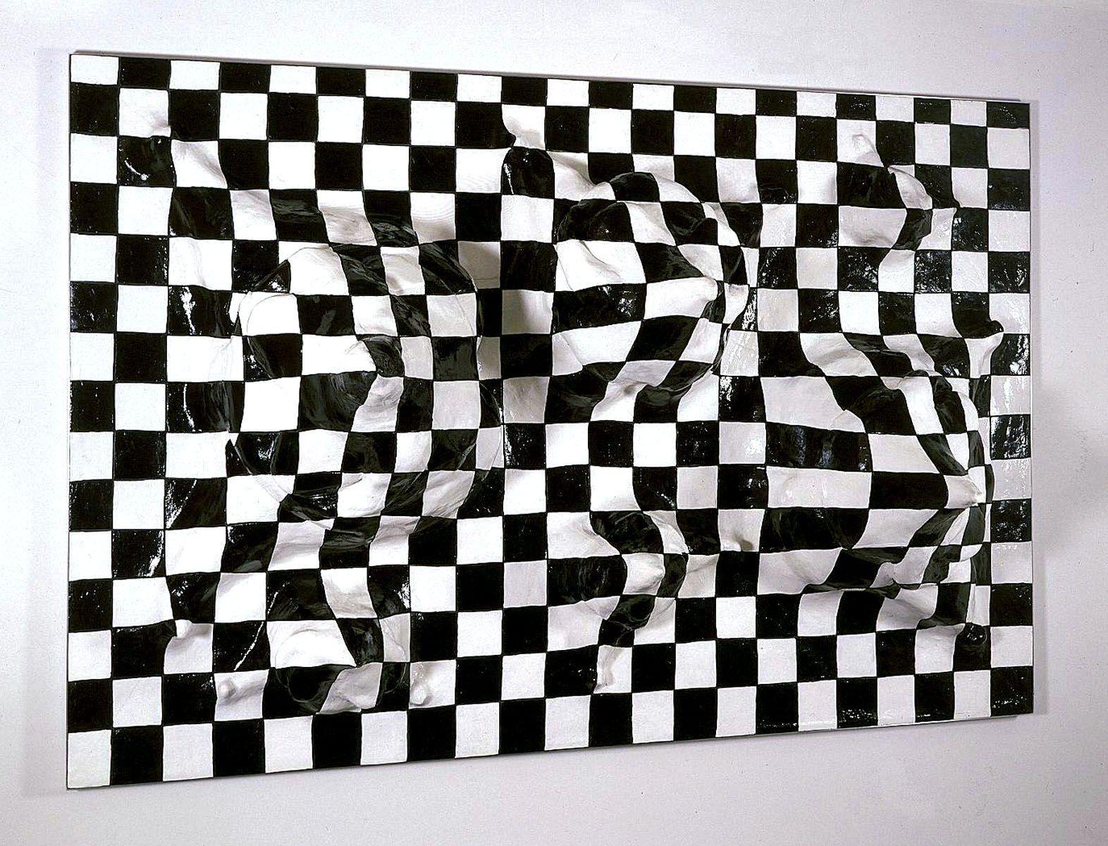 checkerboard illusion sculpture by liz craft
