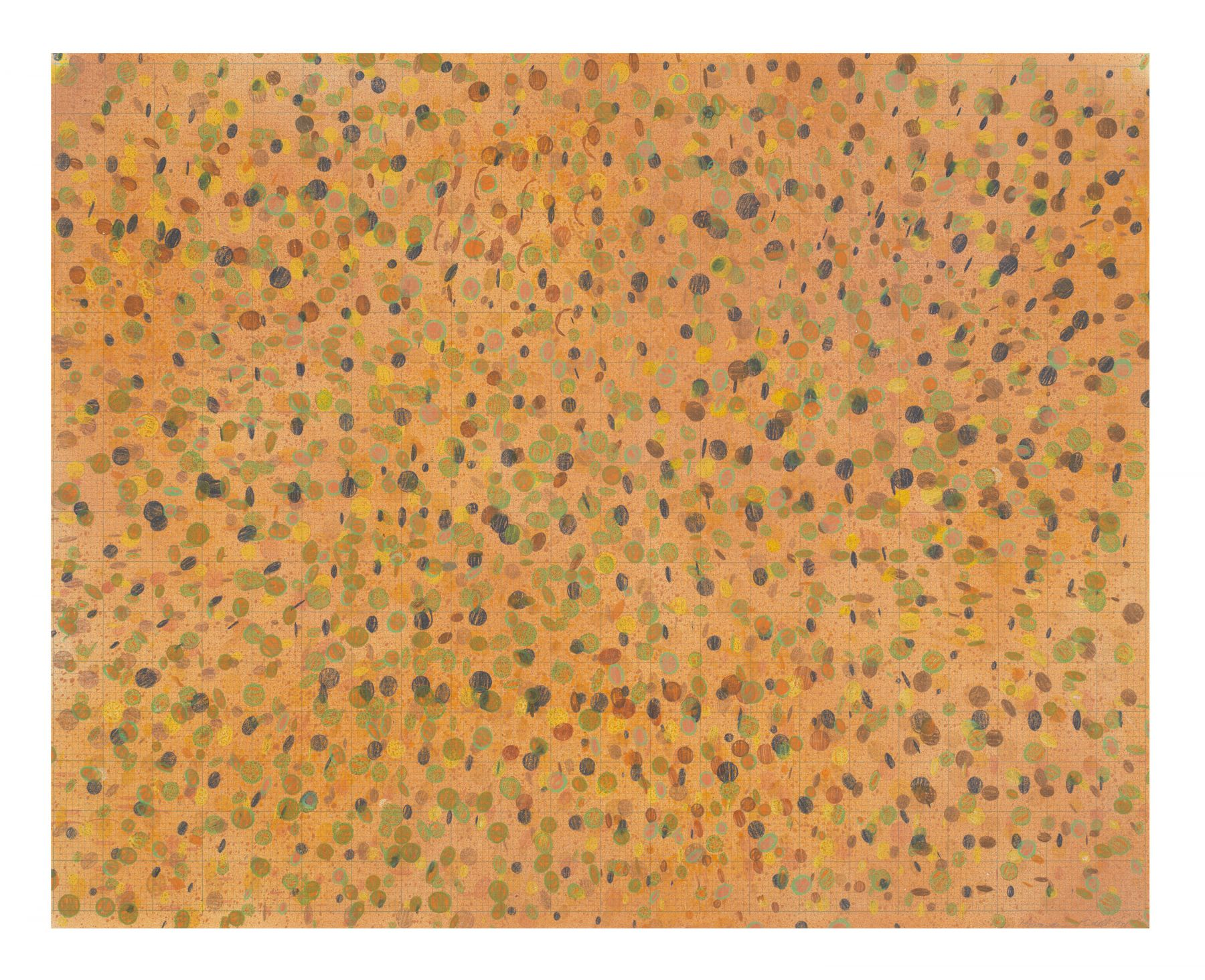 Orange color grid pattern mix media drawing on paper by Howardena Pindell