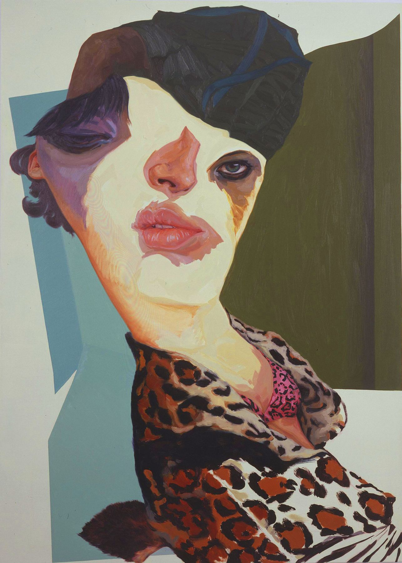 portrait of a woman with a leopard print blouse by yi chen