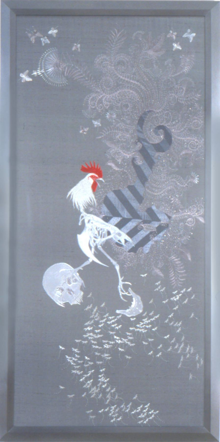 grey embroidery with chicken by angelo filomeno