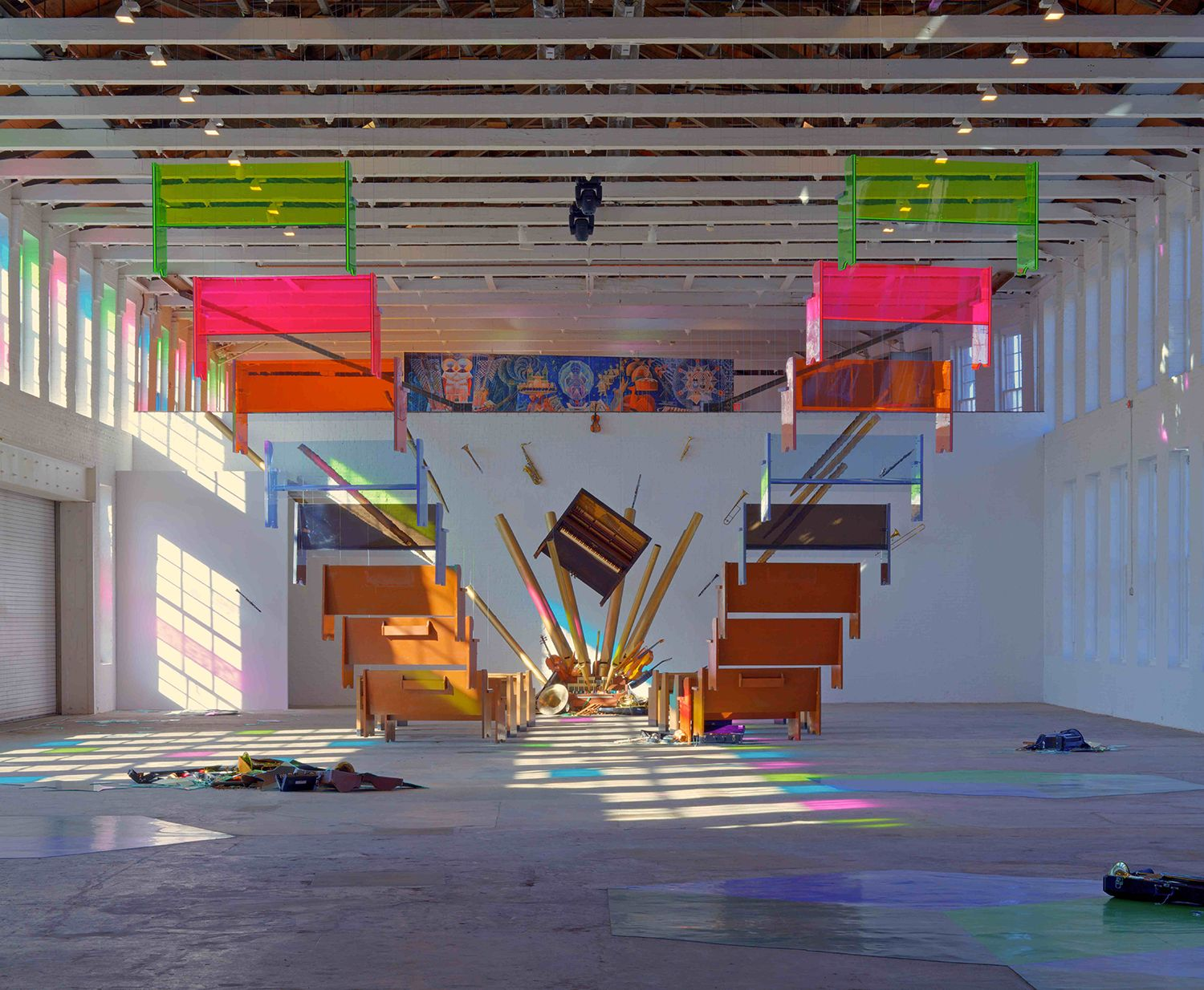 an installation view of Sanford Biggers's museum exhibition