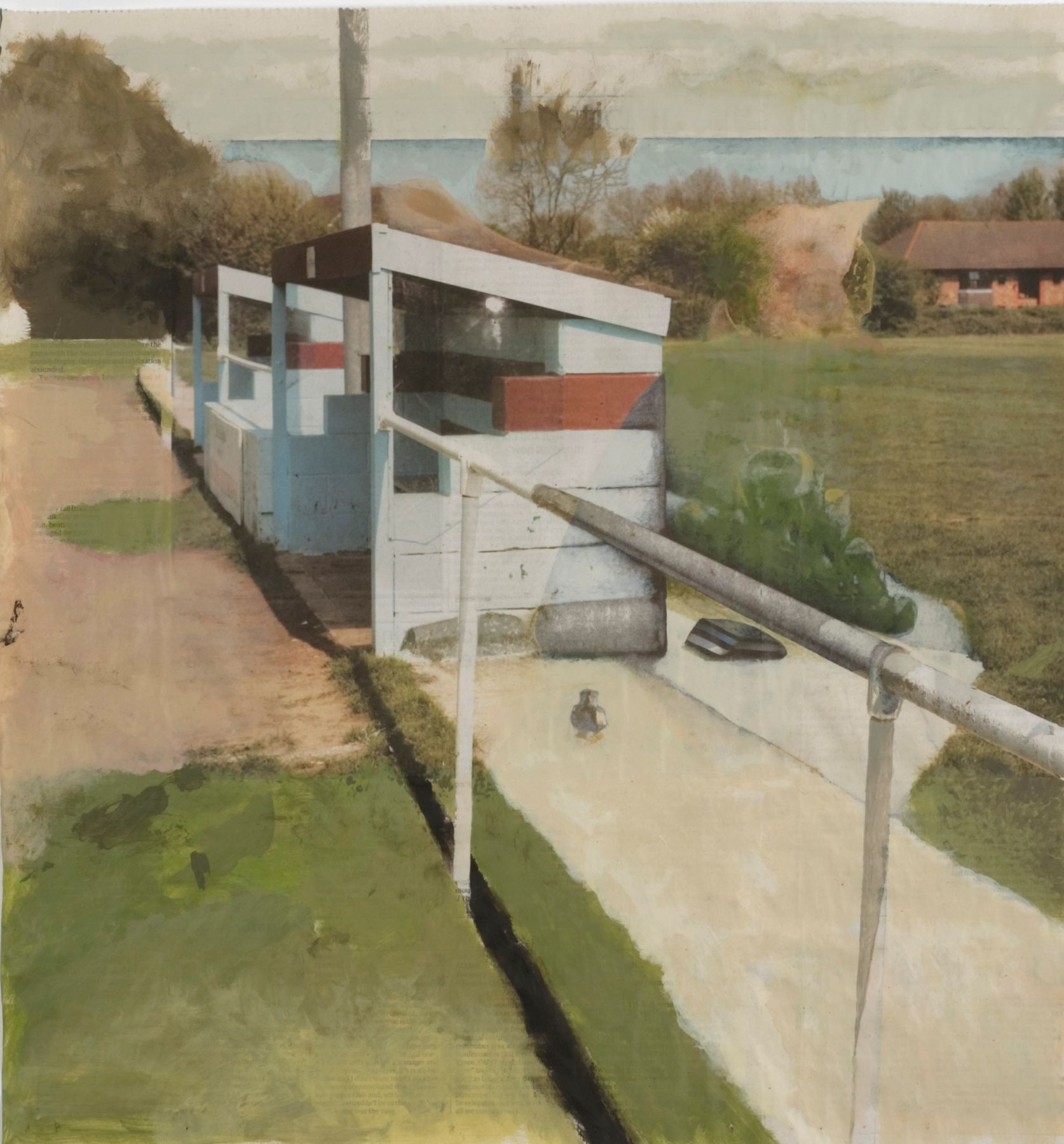 grassy landscape with sheds by tony swain
