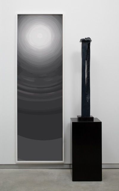 arrangement by anthony pearson with rectangular black scultpure and painting