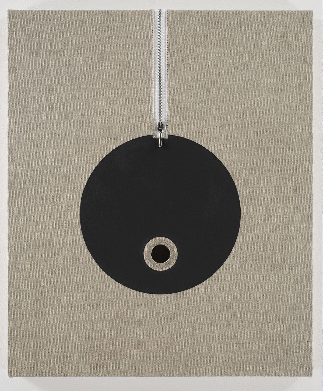 linen panel zipper and black circle by donald moffett