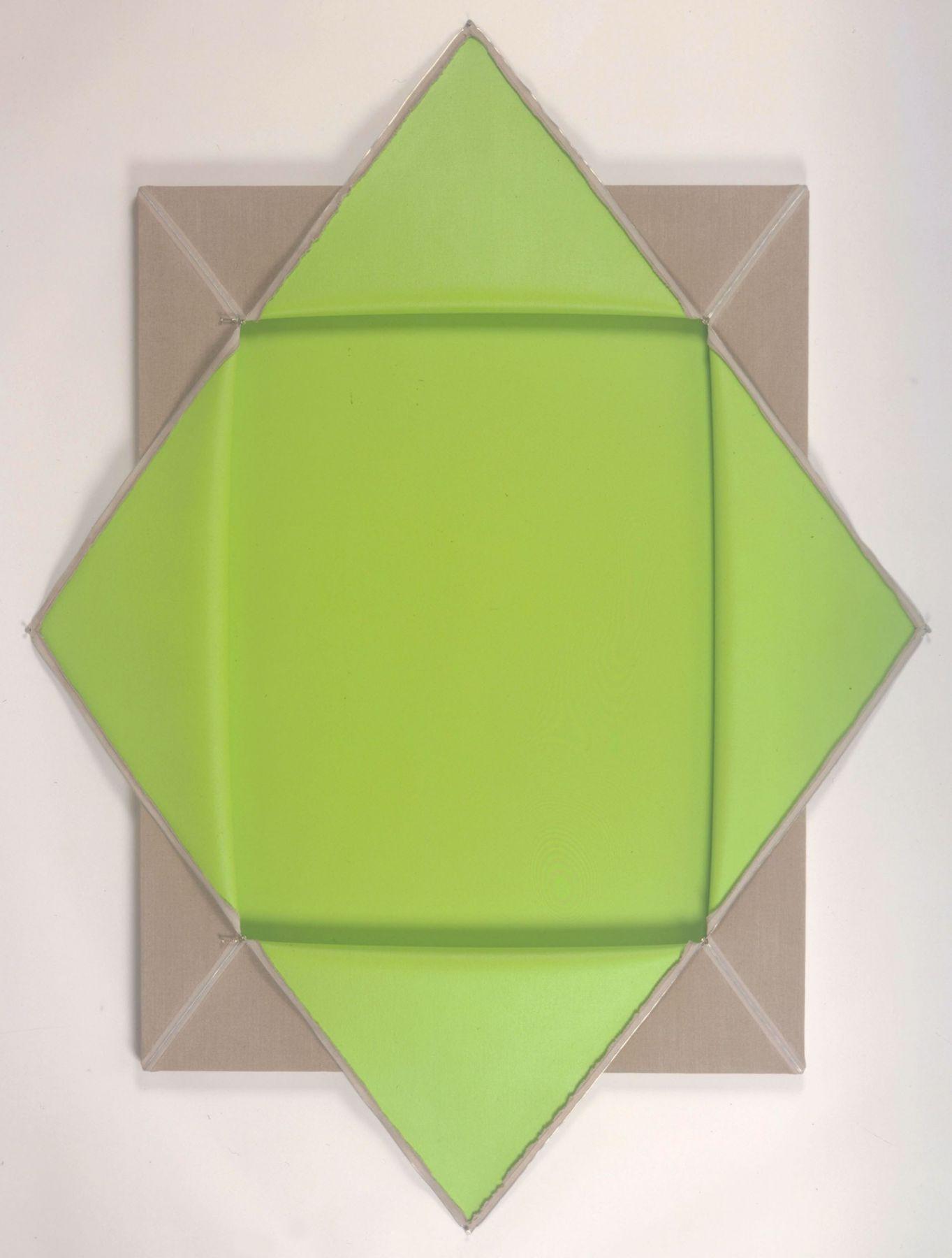 green and beige sculpture by donald moffett