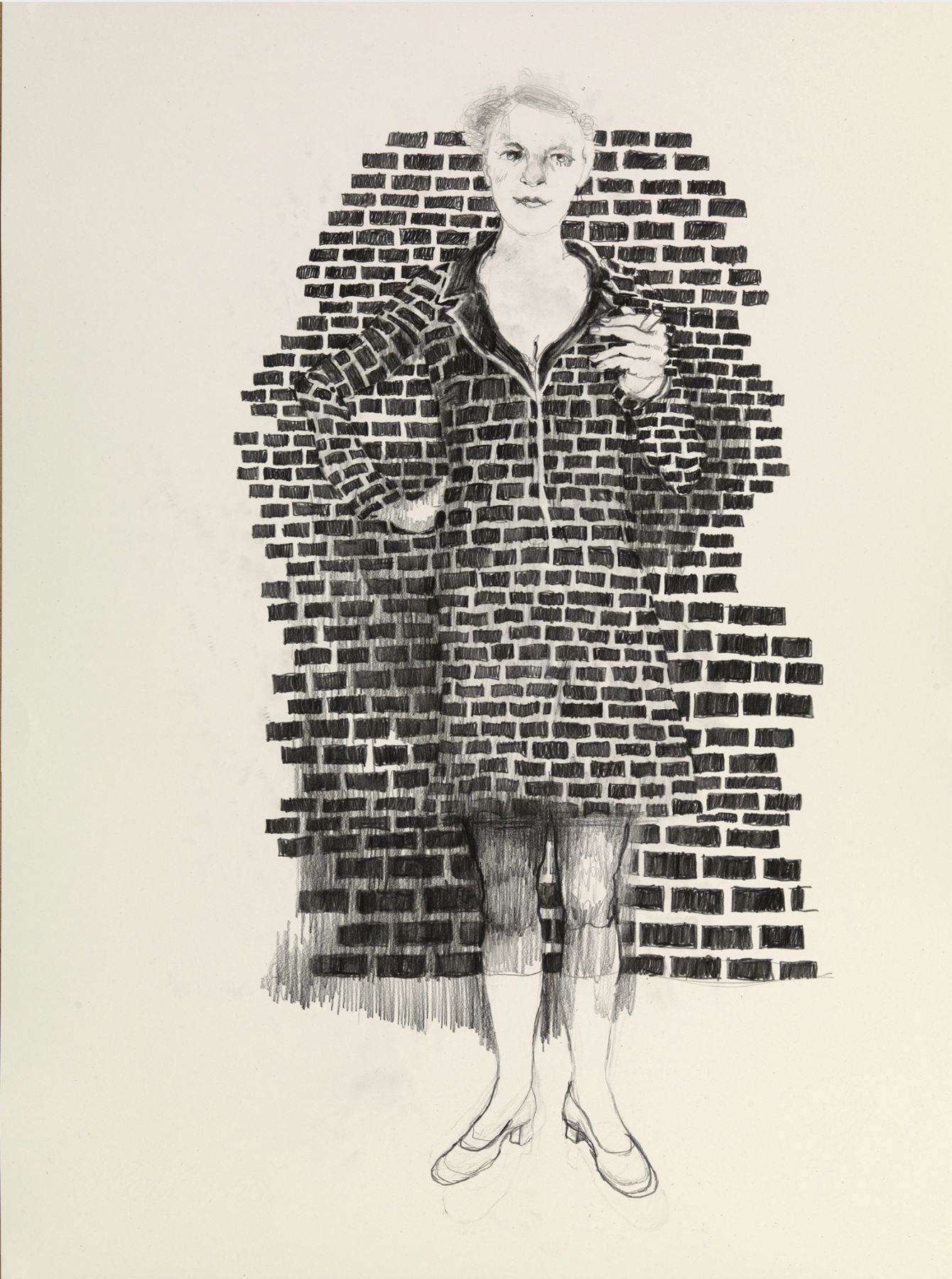 graphite on paper work by Hannah van Bart of a woman against a brick wall