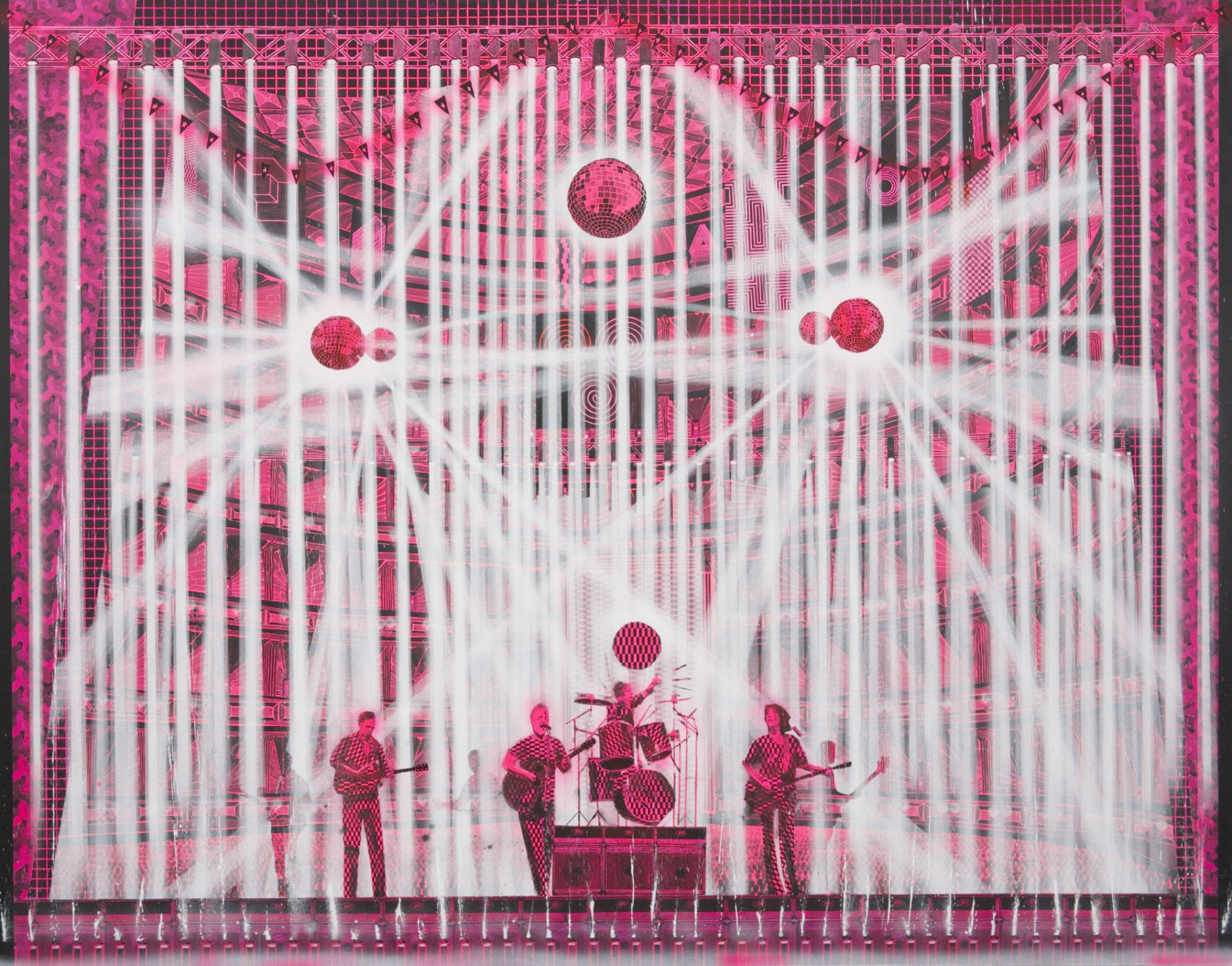 pink and white concert scene with disco balls, drum set, and musicians