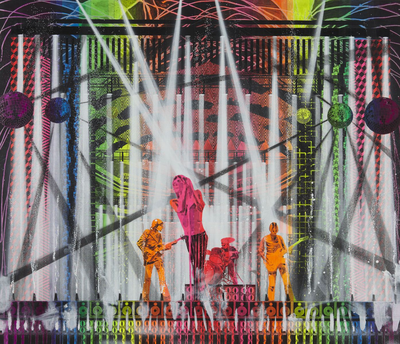 a painting of a concert by barnaby furnas in bright, neon colors