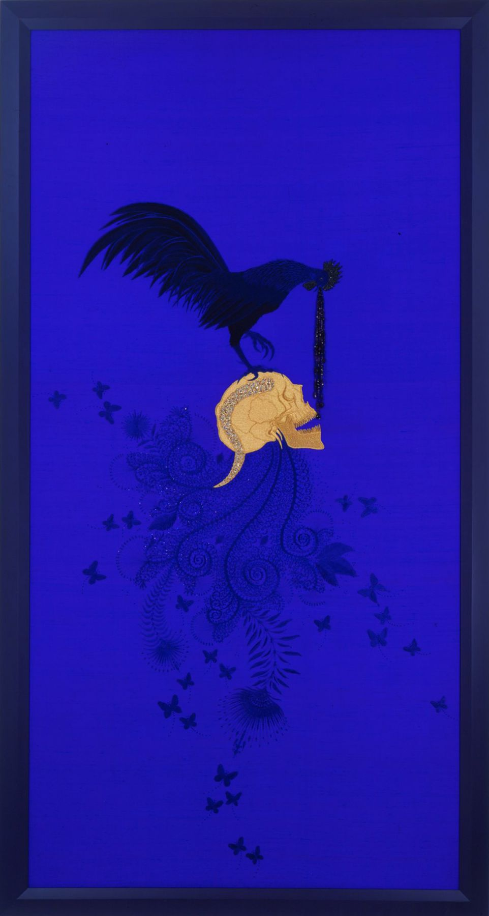 blue embroidery with skull and bird by angelo filomeno