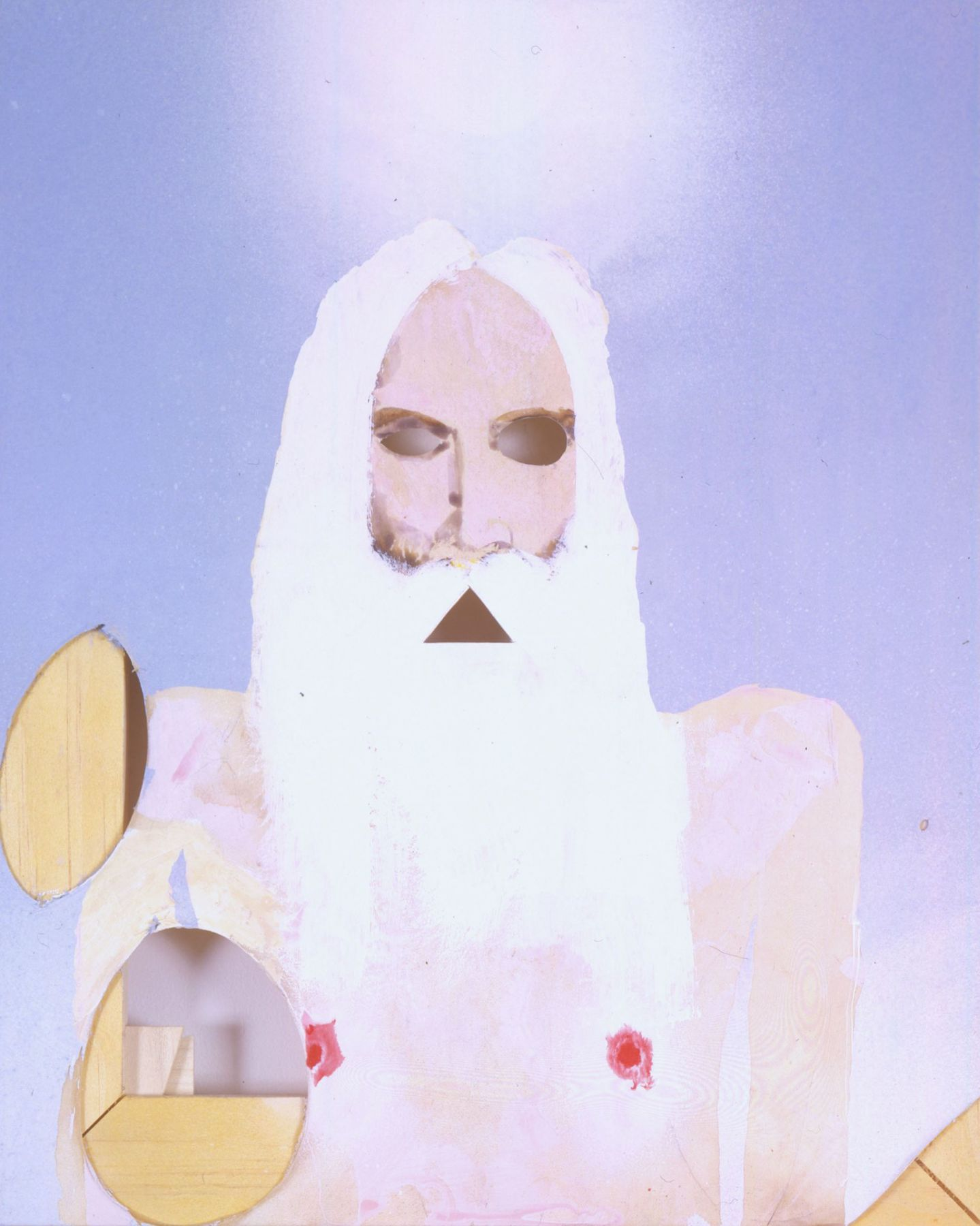 portrait of an old prophet with white hair, a halo, and sky by barnaby furnas