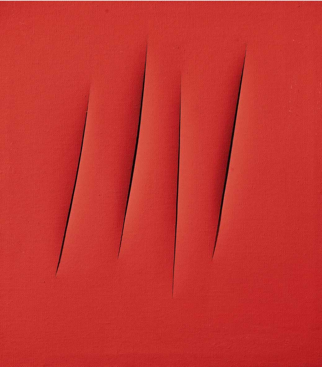 red painting by lucio fontana with slits