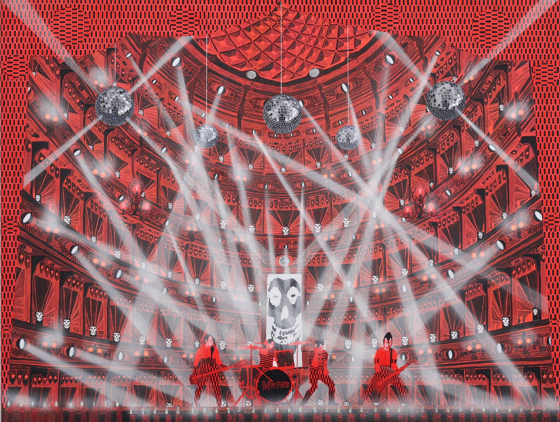 a painting of a concert by barnaby furnas in a contemporary art gallery in nyc