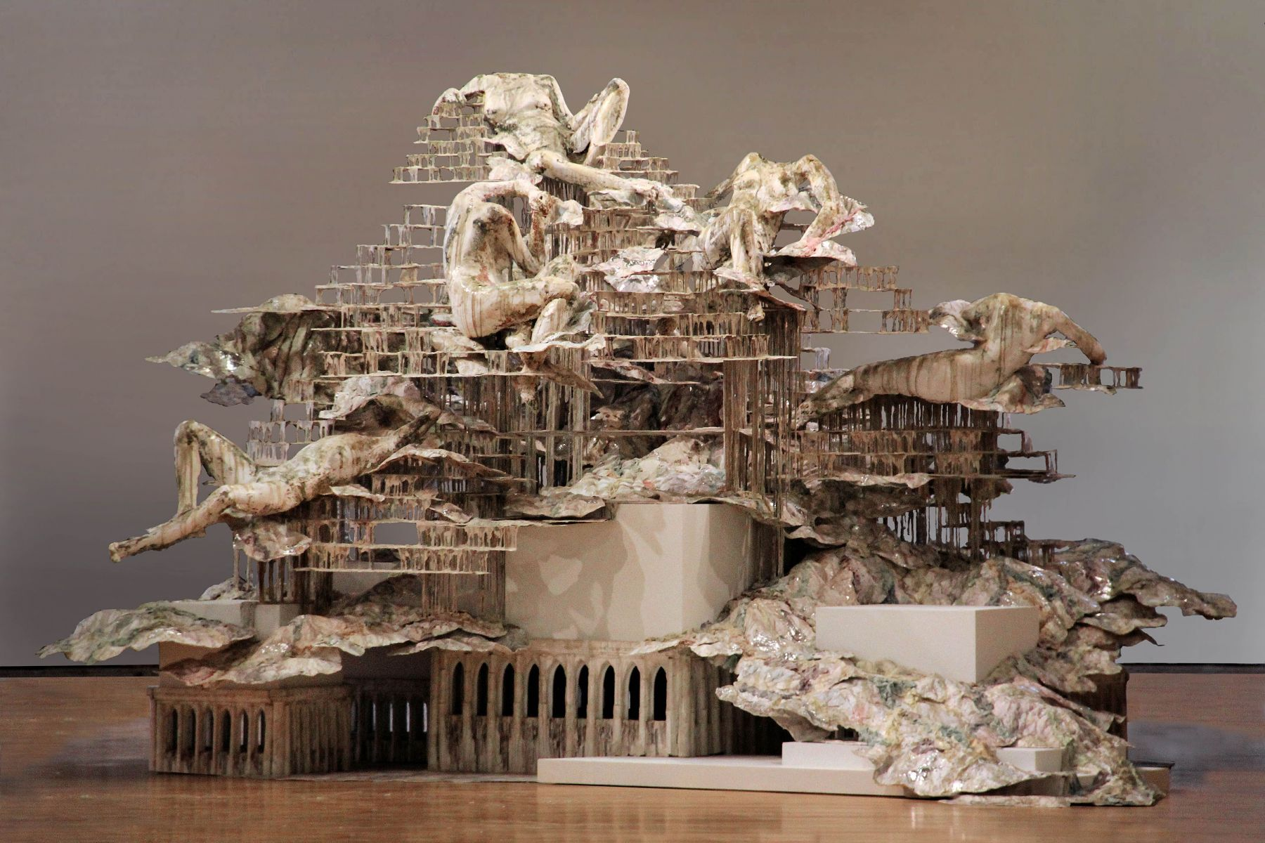 A large dripping sculpture by the Syrian artist Diana Al-Hadid