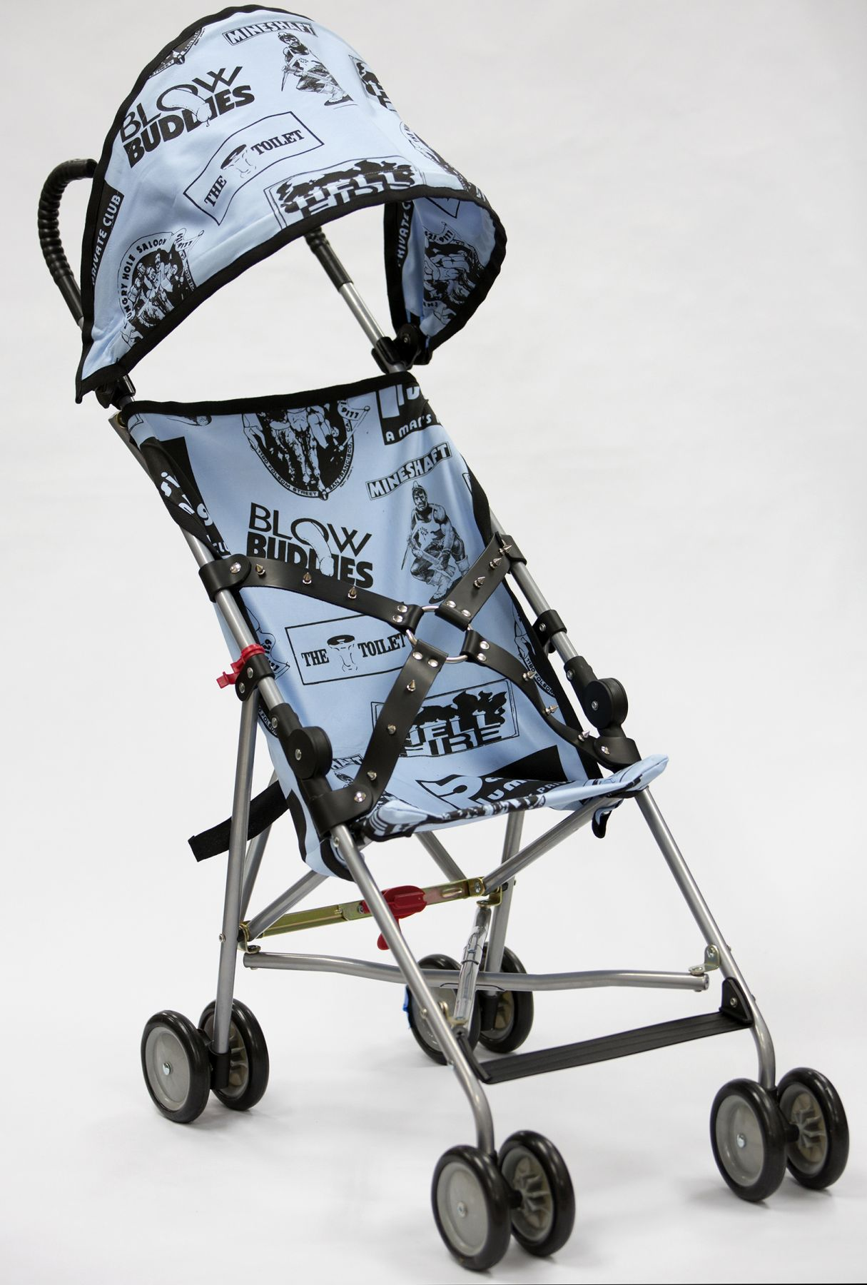 Stroller sculpture by John Waters for sale at a New York City gallery