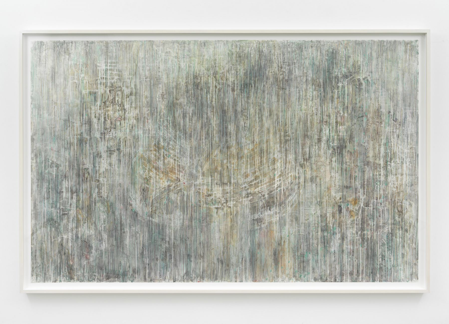 a work on mylar by Diana Al-Hadid on exhibition in a NYC gallery