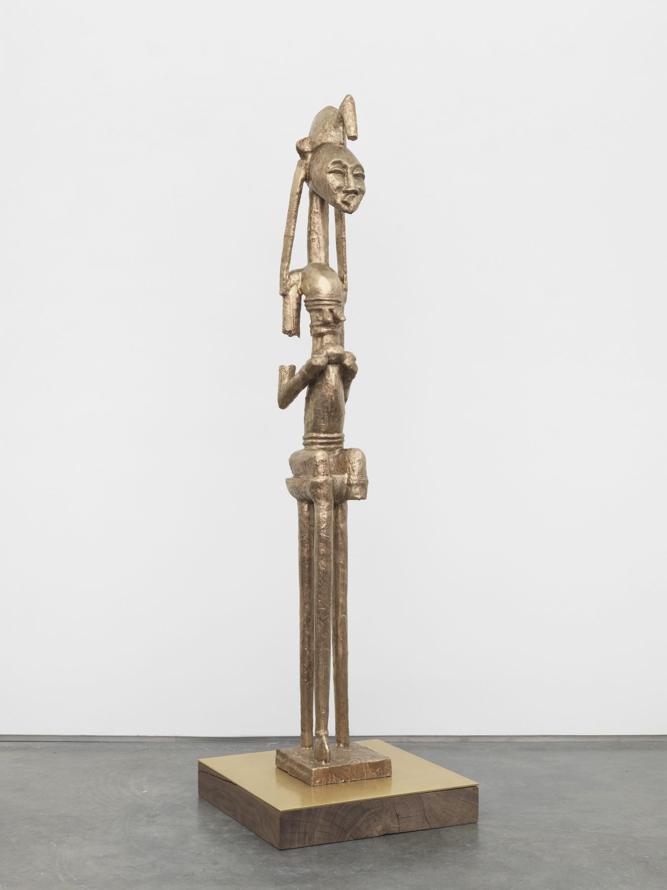 a bronze BAM sculpture inspired by African sculpture and made by Sanford Biggers
