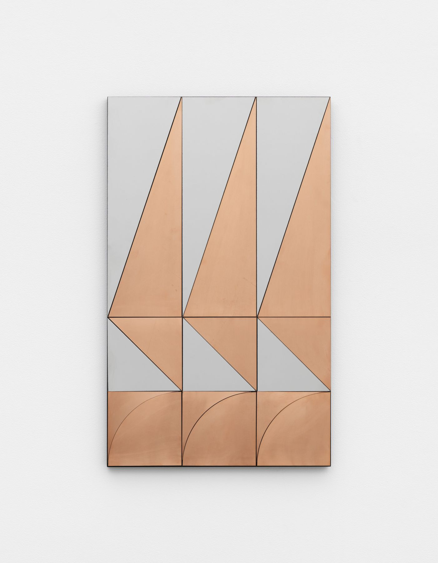 Untitled, 2017 Copper and mirror-polished stainless steel on MDF