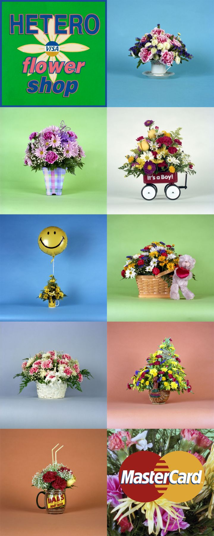 10 photos of flowers with visa and master-card logos by john waters