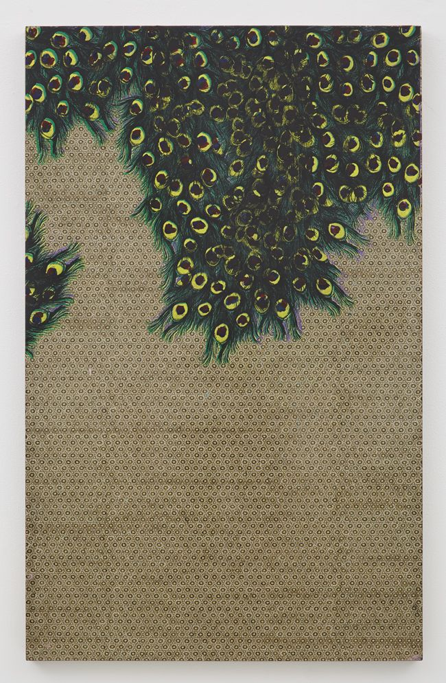 painting with green floral forms on wood by andisheh avini