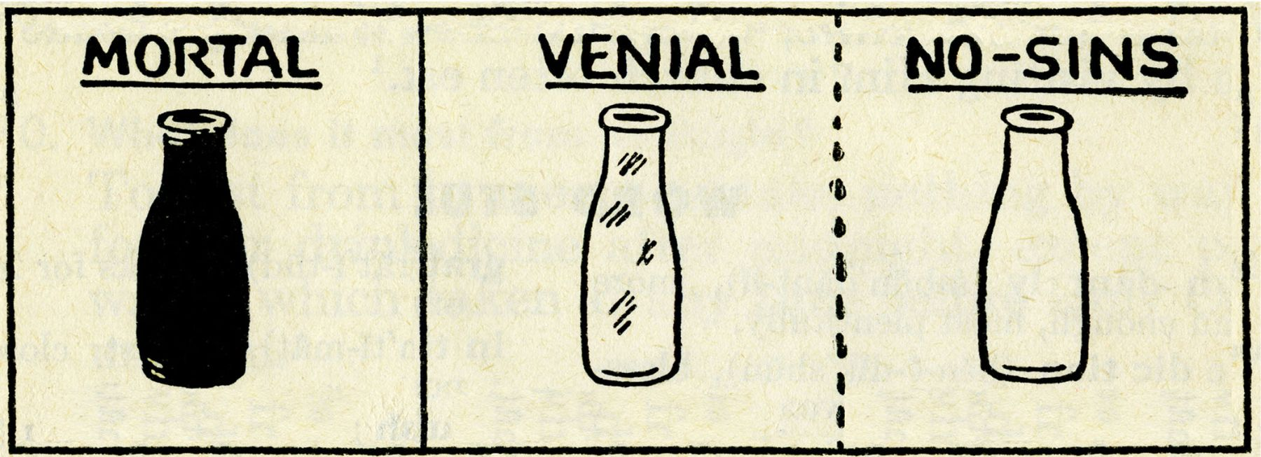 "drawings of three bottles with ""mortal, venial, no sins"" by john waters"
