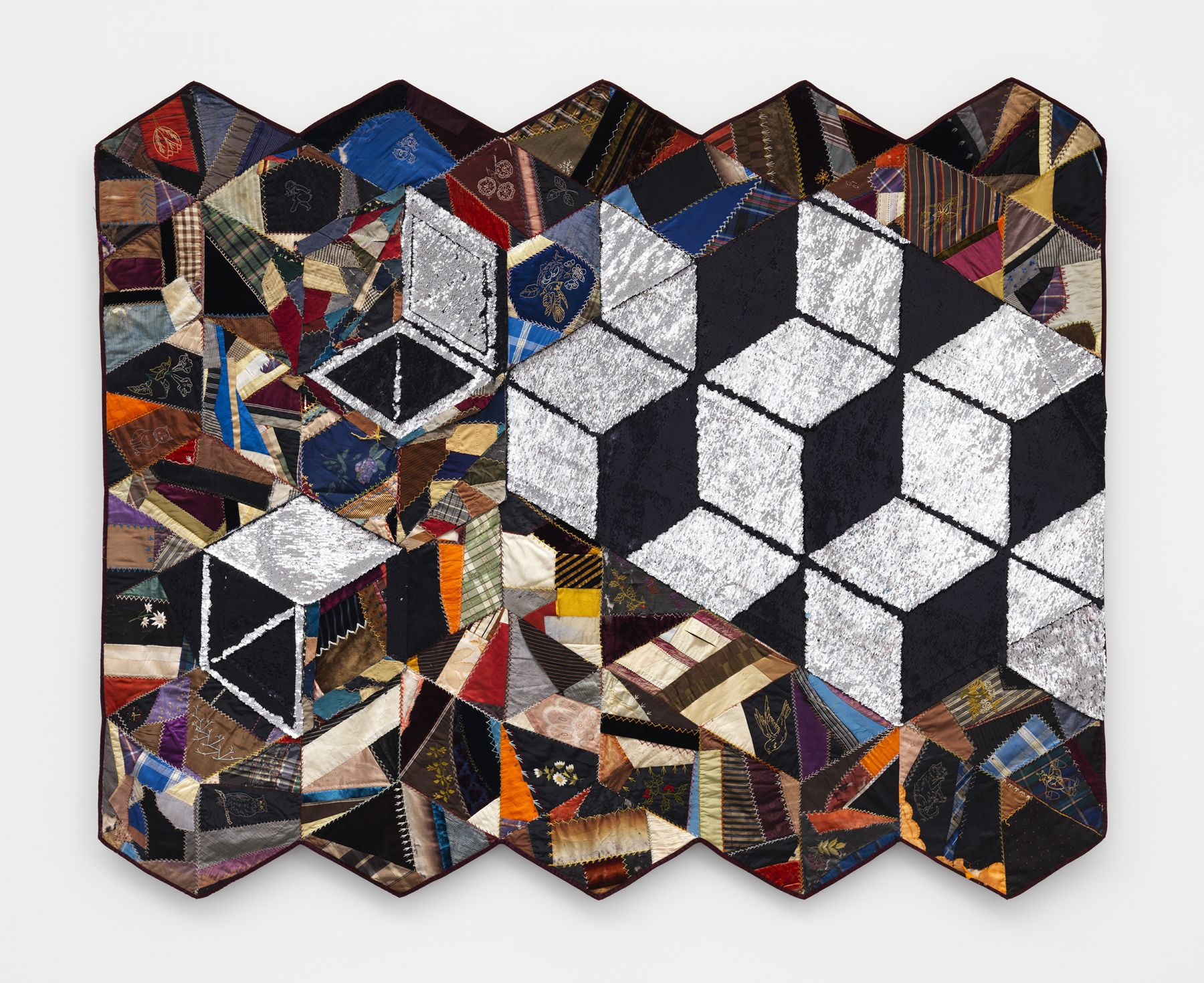 contemporary fiber artwork by Sanford Biggers for sale in a gallery exhibition