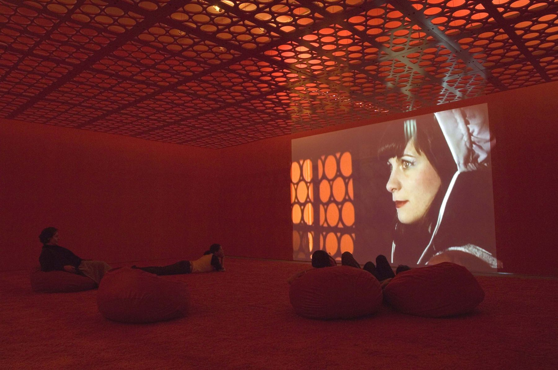 a film installation by sue de beer in a contemporary art gallery space in new york