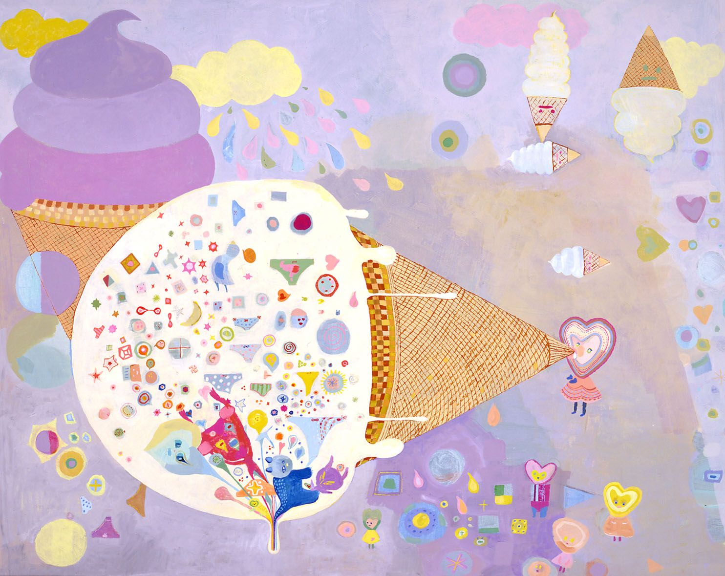 ice cream cone with purple background by chinatsu ban