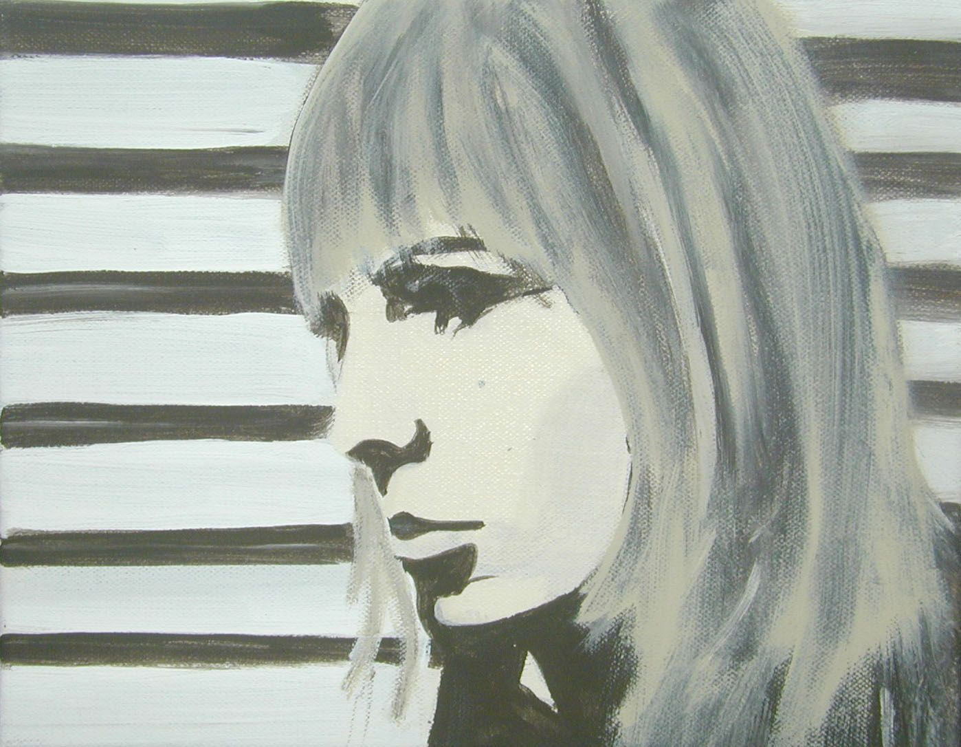 monochrome portrait of a woman with striped background by stephanie dost