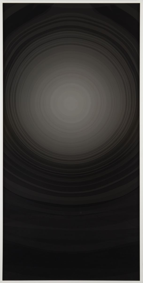 black painting with grey circle by anthony pearson