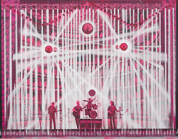 Pink Concert (The Pixies), 2008, Color pencil, wax transfer and acrylic on linen