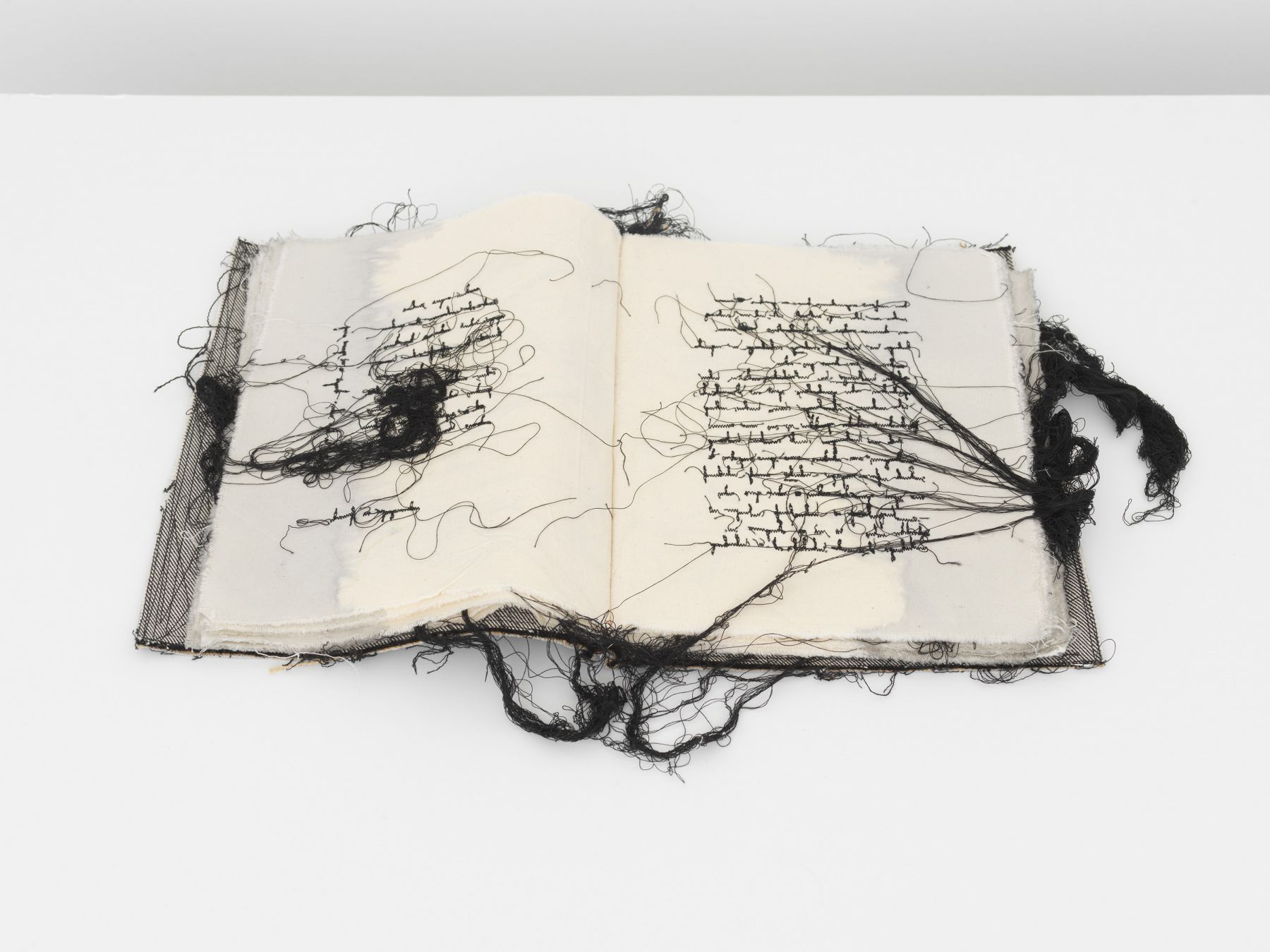 an embroidered fabric book by maria lai for sale at a nyc gallery