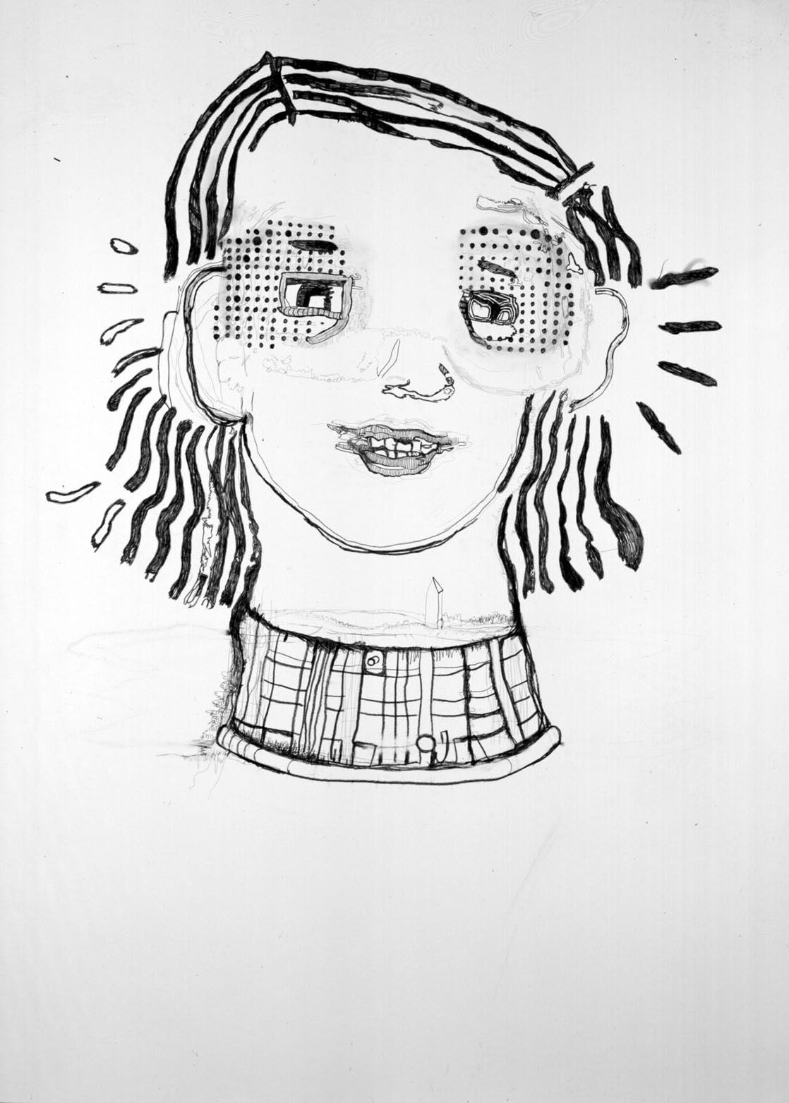 Girl's Head, 2004, Graphite on paper